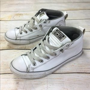 Converse white leather mid top sneakers Y 5, W 7